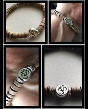 Silver Om Aum Coco Wood Spiritual Healing Vibration Truth Energy Bracelet 7.5