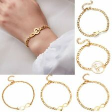Fashion Gold Infinity Stainless Steel Adjustable Bracelet Women Jewellery Gifts
