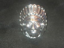 SILVER ARIZONA AMERICAN SOUTHWEST INDIAN CHIEF RING SIZE 8 TRIBE FEATHERS