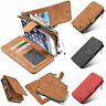 Luxury Zipper Wallet Case Card Cash Holder Removable Case For APPLE & Samsung
