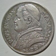 VATICAN (PAPAL STATES) 1867-R POPE PIUS IX SILVER TWO LIRE COIN (KM# 1379.2)