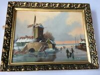 Original Oil on Board Painting by Vincent Selby windmill winter scene