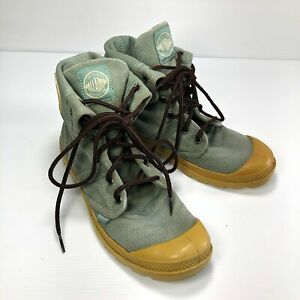 Palladium Mint Green Canvas Lace Up Snap Button Fold Women Combat Boots Sz 5.5
