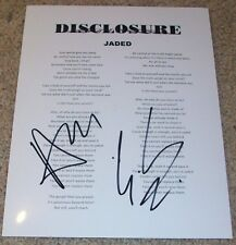 DISCLOSURE SIGNED AUTOGRAPH JADED LYRICS SHEET w/PROOF GUY & HOWARD LAWRENCE