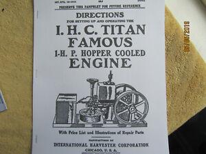 IHC Titan Famous 1914 1 HP Gas Engine Instruction & Parts  Manual