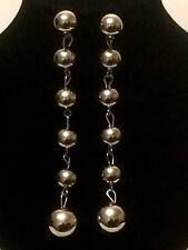 LONG Womens Ladies STATEMENT Large SILVER Beaded Faux Pearl Drop Dangle Earrings