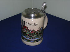 MUNICH 1/2 LITER BEER STEIN WITH BMW ROUNDEL LID, MADE IN WEST GERMANY