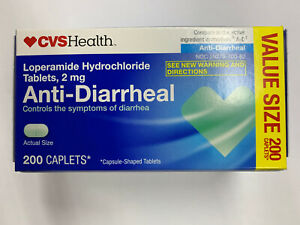 Anti-Diarrheal 2 mg Caplets 200 ct box controls symptoms exp 12/2021 By CVS