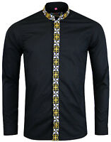 NEW MADCAP ENGLAND MENS RETRO MOD 60s MANDARIN COLLAR SHIRT: AVORY BLACK MC299