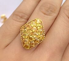 14k Solid Yellow Gold Cluster Diamond ShapeRing, Natural Yellow Sapphire. Sz7.75