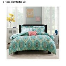 New 8 Piece Paisley Queen Size Comforter Set Bedding Bedspread With Sheets Moder