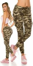 Damen Sexy Koucla Skinny Camouflage Cargo-Jeans Hose