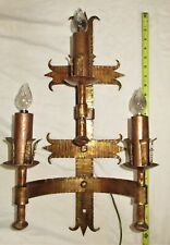 ANTIQUE GOTHIC WROUGHT IRON SPANISH REVIVAL SCONCE LIGHT FIXTURE CHANDELIER
