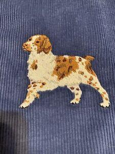 Vintage Ralph Lauren Blue Corduroy Pillow With Embroidered Dog Spaniel EUC
