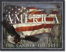America Land of Free American Flag Eagle Proud Man Cave Garage Decor Metal Sign