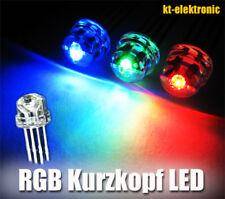 10 Stück LED 5mm RGB (+) 4-Pin steuerbar, Kurzkopf, Flachkopf, gem. Plus 110°