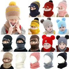 Kids Caps Knit Pom Toddler Baby Boys Girl Warm Winter Bobble Beanie Hats Scarf