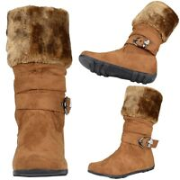 Kids Girls Mid Calf Boots w/ Faux Fur Collar Rhinestone Heart Buckle Strap Tan