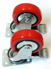 """TWO Medium Duty 4"""" Caster All Swivel Plate Red Polyurethane Wheels with Brake"""