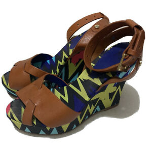 MISSONI - Tan Leather and Multi Colour Patterned Wedge Sandals Sz 38 / US8 / UK5