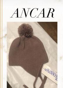 Ancar Baby Brown Bonnet Spanish Spain Clothes Hat 18 months Pompon