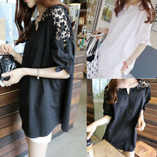 3XL Korean Women Lace Embroidery Black Hollow Short Sleeve Tops T-shirt Blouse