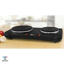 Double Burner Electric Portable Cooktop Countertop Stove Cooking Hot Plate Black