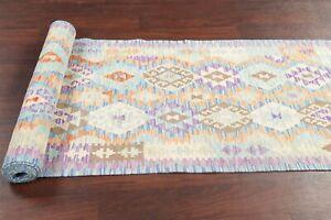 Flat-Weave Geometric Kilim Southwestern 13 ft Runner Rug Kilimanjaro Carpet 3x13