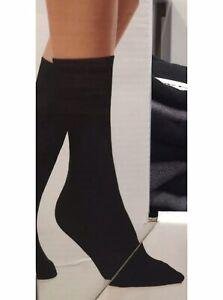 DKNY Ladies Logo Band Socks 3 Pairs One Size BNWT Black