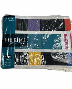 Vintage Dan Rivers Twin Flat Sheet Swizzle Print Geometric Multicolor 80's New
