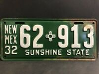 ORIGINAL RARE NEW MEXICO 1932 LICENCE PLATE SUNSHINE STATE EXCELLENT CONDITION
