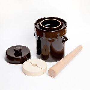 2L Kenley Fermentation Crock Bucket Fermenting Pickling Sauerkraut Pot & Pounder
