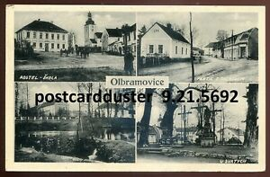 5692 - CZECHIA Olbramovice Postcard 1943 Multiview