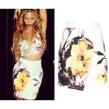 ex Topshop Floral Tropical Scuba Wrap Holiday Party High Waist Skirt - Beyonce