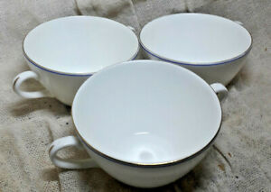 Three Wedgwood Mystique Blue Two Handle Soup Cups , Very Good Gold and Blue