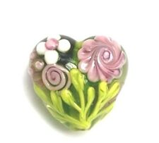 GL Premium Lampwork Artist Heart Bead Green Garden 18x12mm *UK EBAY SHOP*