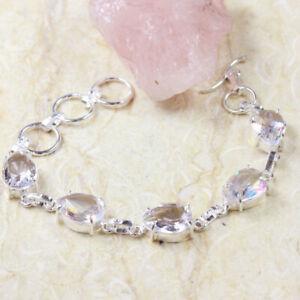 """White Topaz 925 Silver Plated Handmade Gemstone Bracelet of 8.1"""" Ethnic Gift"""