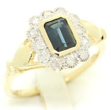 Sapphire & 0.24ct Diamond 9ct 9K Solid Gold Antique Style Ring - 30 Day Returns