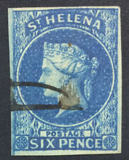 MOMEN: ST HELENA SG #1 IMPERF 1856 USED £200 LOT #5182