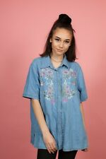 Vintage embroidered humming bird & flowers short sleeve denim jean shirt