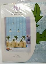 Tropical Island Fabric Shower Curtain 100% Mildew-Resistant Polyester 72 X 72