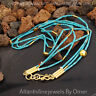 925k Sterling Silver 3 Strand Troy Turquoise Necklace 24k Yellow Gold Plated