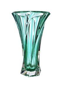 "Vase 12 ""Crystal Glass Green Bud Vase Home Decor Bohemia Crystal Flower Vase"