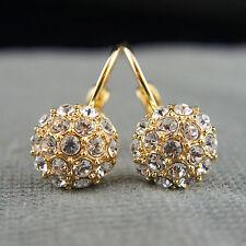 18k Gold GF with Swarovski crystals dangle drop balls earrings