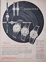 PUBLICITÉ DE PRESSE 1961 MONTRES LONGINES FAMBORÉE CONGUEST FLAGSHIPS AUTOMATIC