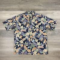 Tori Richard Hawaiian Shirt Floral Leaves Pattern Short Sleeve Men's Size Large