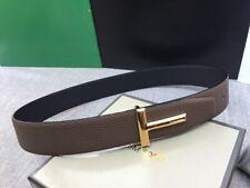 Tom Ford brown black leather reversible T-buckle logo belt
