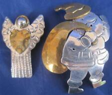 Ladies Pins Pendants Lot of 2 Mexico 925 Silver Laton 26g Angel Santa Vermeil