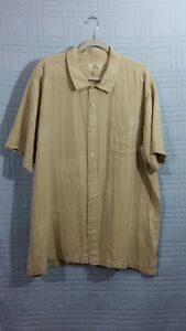Solitude Mens size 2X Beige Hawaiian short sleeve button down shirt
