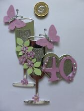 3 Large Ladies 40th 40th & 40th pink pearl Champagne Glass Birthday Card Toppers